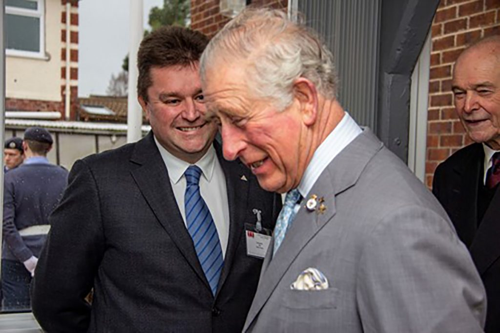 His Royal Highness The Prince of Wales with Dean Banks, Chief Executive Officer of Balfour Beatty's UK Construction Services business at the event