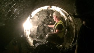 Ormeau Avenue Sewerage,-Tunnel face under Great Victoria Street