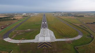 An aerial view of the resurfaced runway. DIO Crown Copyright, 2020.