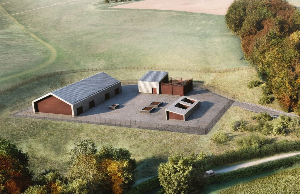 CGI aerial view of Chalfont St Giles vent shaft at Year 15 following construction