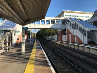 Completed footbridge at Crawley station