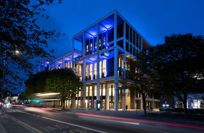 Town House lit up in blue during the RIBA Stirling Prize ceremony